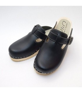 Swedish Clogs leather black with articulated wooden and rubber Sole