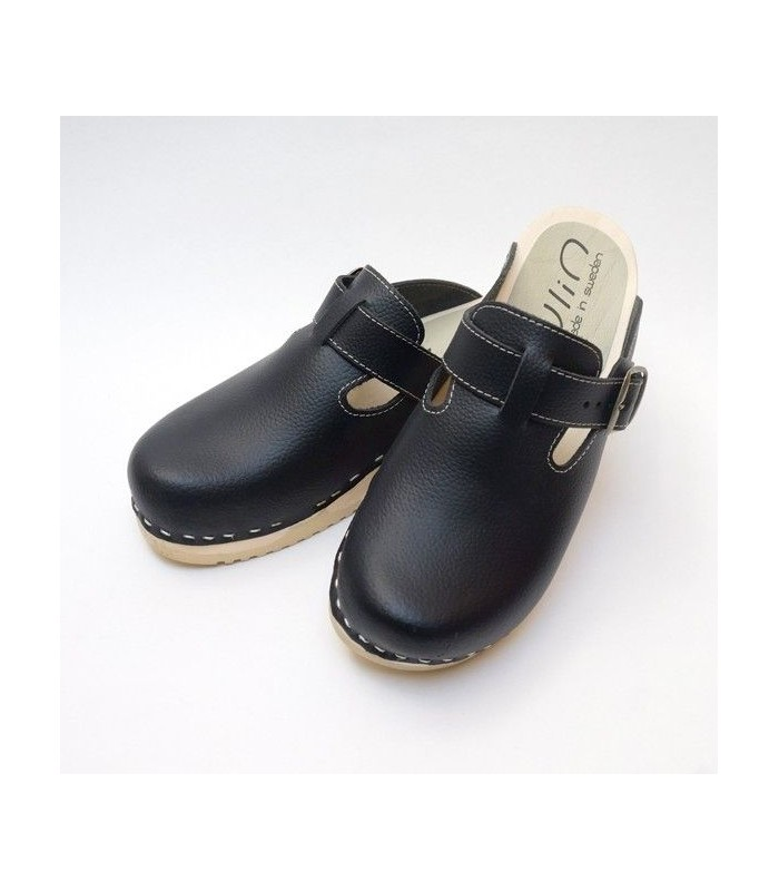 wooden genuine calf hair clogs