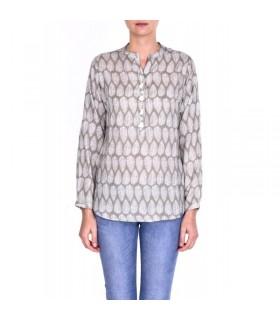 Chemise femme modal col mao boutons pompon
