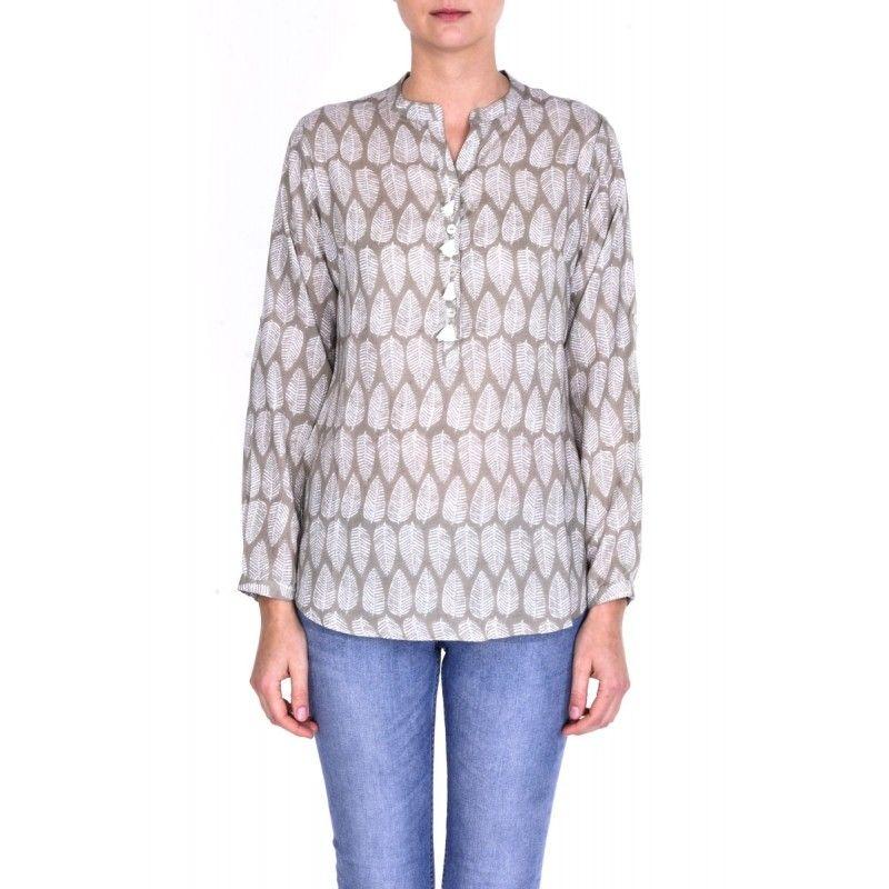 très loué haute couture nouvelle sélection chemise femme modal col mao boutons pompon