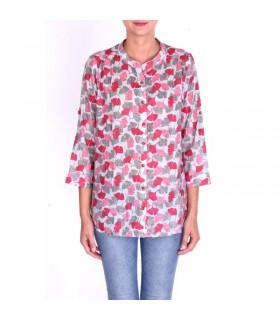 Chemise femme coton imprimé col mao rose foncé