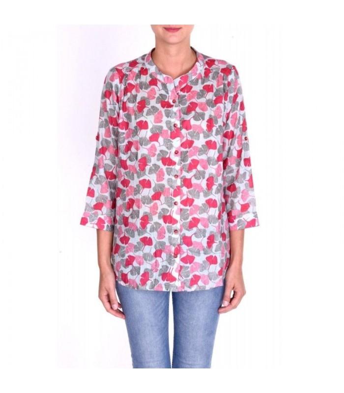 Elegantes und stilvolles Shirt fur Damen mit Mao-Kragen und Bommeln.