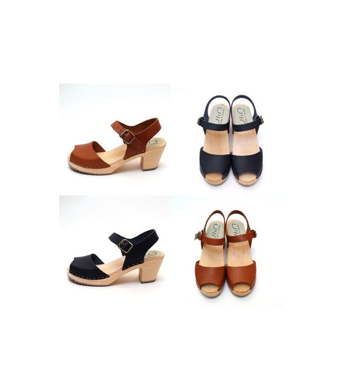 venta minorista f99a9 3f410 Mujer sueca de madera sandalias zapatos de tacón top