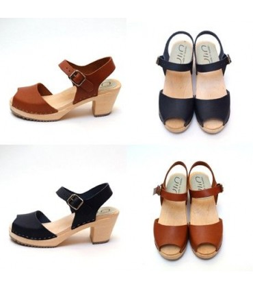 Sandalias mujer sueca cuero madera pies descalzos talones