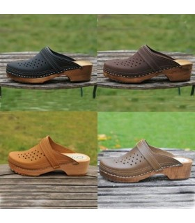 Wood and leather men's Swedish Clogs