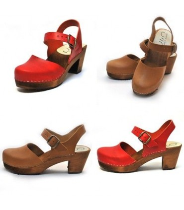 Women Swedish wooden and vegetal leather heeled sandals