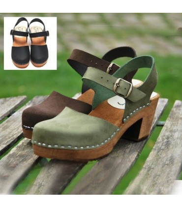 Women Swedish wooden and nubuck leather heeled sandals