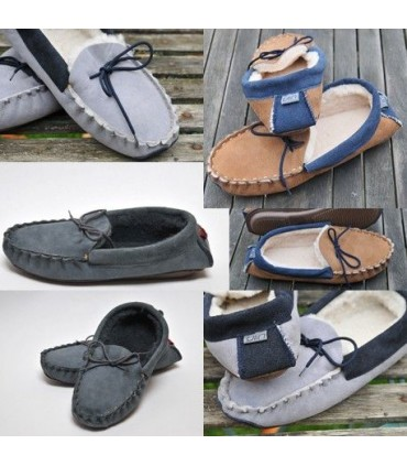 Men's slippers moccasin in guenuine lambskin