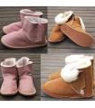 Chaussons bottes bébé enfant peau de mouton moka ou rose
