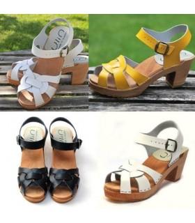 Frauen Schwedische Holz Abasatze Sandalen in Leder matt und lackiertem