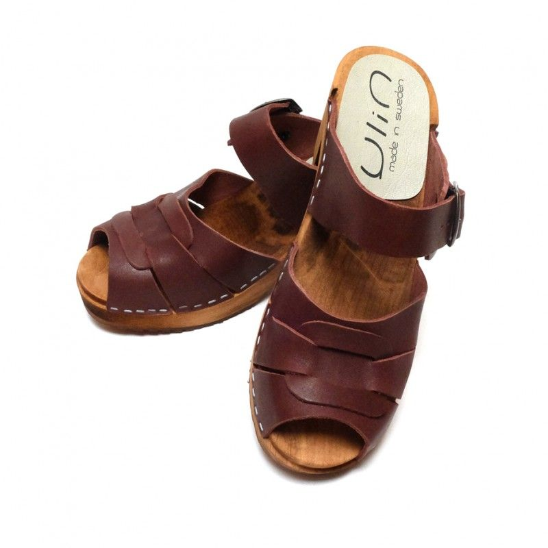 8fd52390b00c1 Women heels high wooden Swedish clogs and leather with buckle