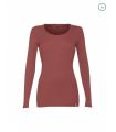 Women's round neck long sleeves shirt in pure merino wool red