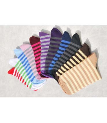 Woman untightened cotton striped socks