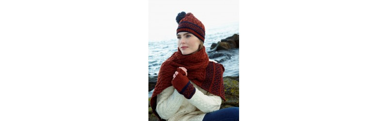 Square silk scarves, mittens, wool beannies, alpaca scarves, gloves and chapka hats in lambskin