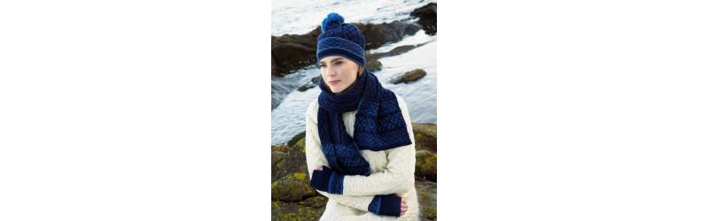 Quepis de lana para hombre y mujer con flor pompón knit, oreja de caché