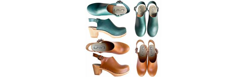 Women Swedish leather high heel wooden sandals